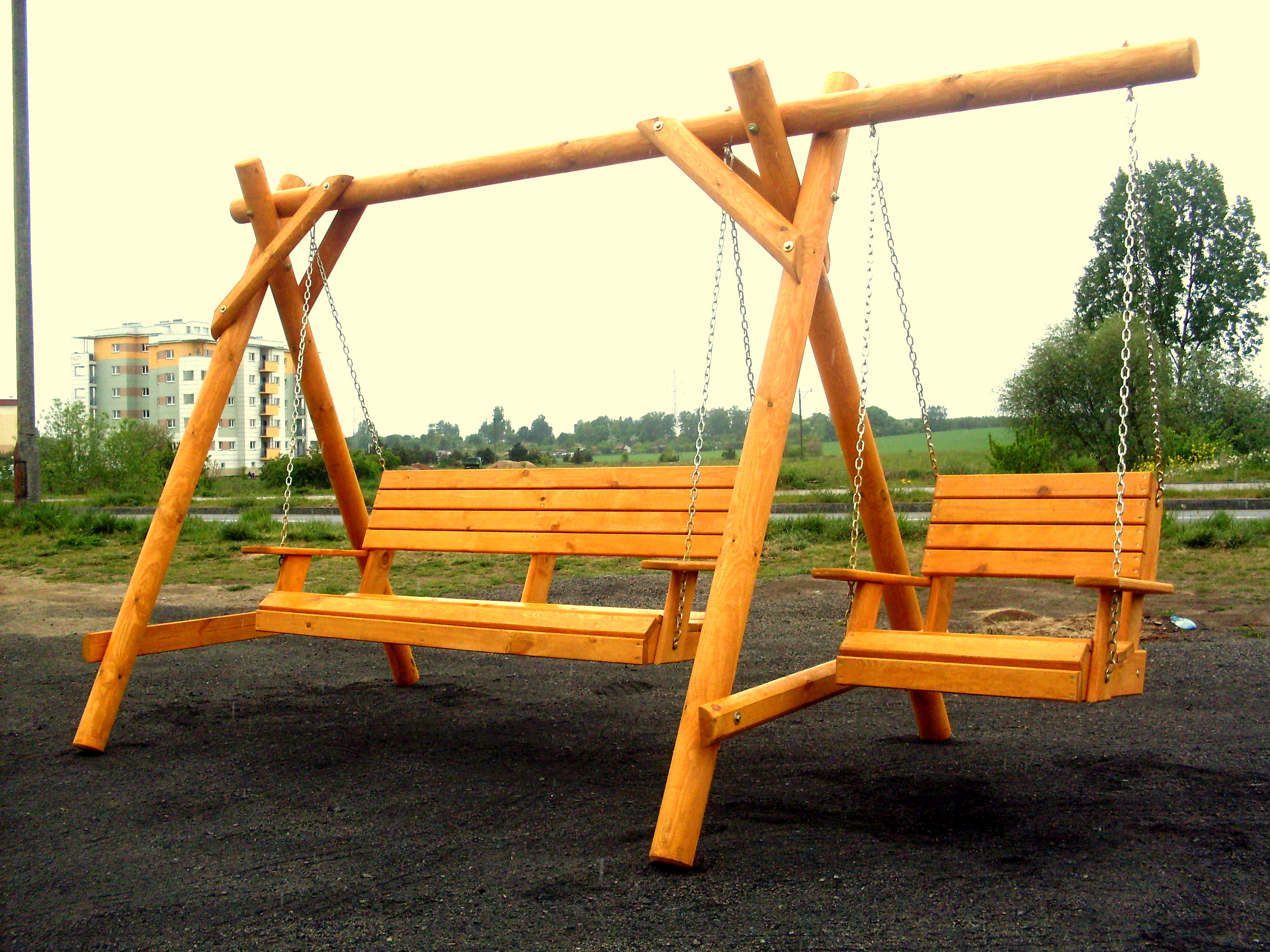 Swing with side bed.
